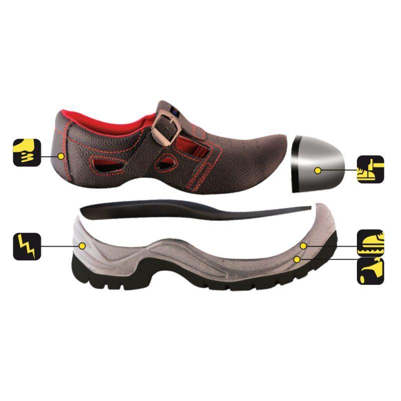 Sandały bezpieczne, buty BHP DEDRA BH9D1-45 skórzane, rozmiar: 45, kat.S1 SRC