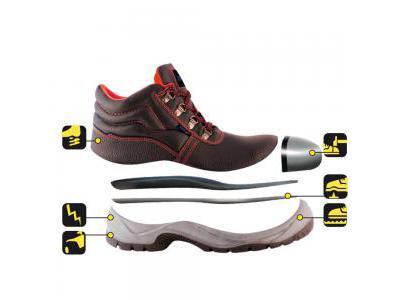 Trzewiki bezpieczne, buty BHP DEDRA BH9T1A-43 skórzane, rozmiar: 43, kat.S1P SRC