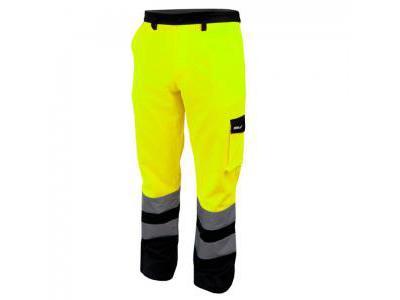 Spodnie ochronne DEDRA BH81SP1-XL, odblaskowe, rozmiar XL, żółte